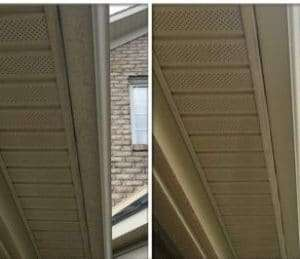 Before and after professional gutter cleaning